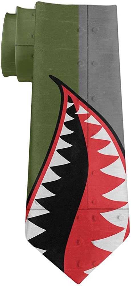 Halloween WWII Flying Tiger Fighter Shark Nose Art All Over Neck Tie