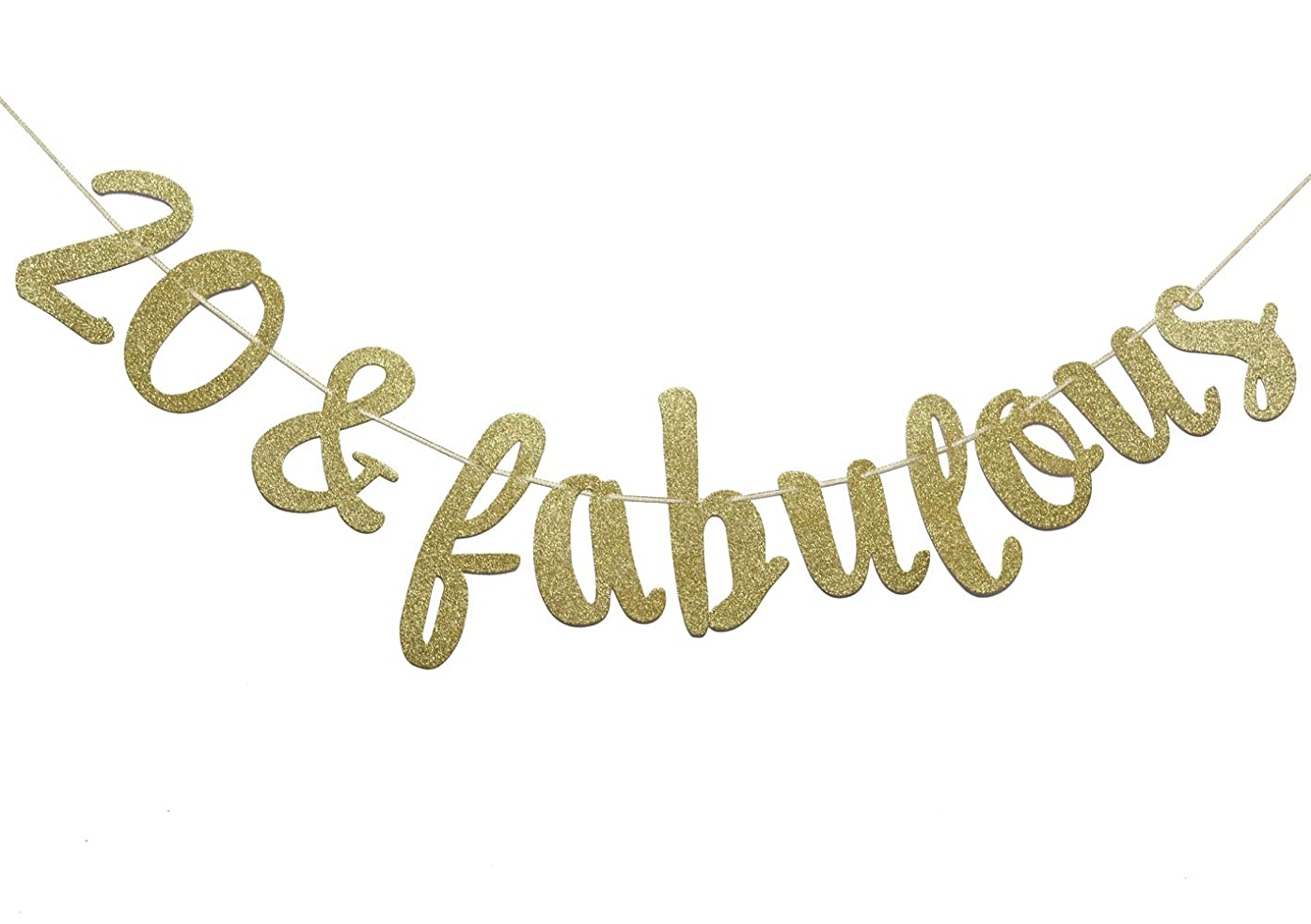Firefairy 20 & Fabulous Cursive Banner-Happy 20th Birthday Anniversary Party Supplies, Ideas and Decorations(Gold)