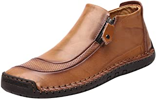 Casual Leather Flat Shoes for Men, Huazi2 New Comfort Slip On Leather Boots Running Shoes