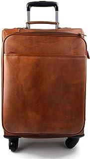 Borsone in pelle borsa viaggio con ruote e manico borsa cabina bagaglio a mano trolley pelle rigido uomo donna marrone