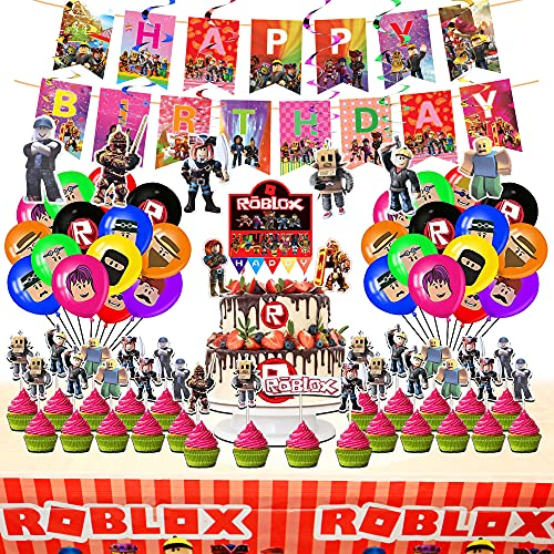 Ro-blox Birthday Party Supplies for Boy,Included Banners, Cake Topper, Cupcake Toppers, Tablecover, Spiral Ornaments and Balloons for Kids Party Supplies