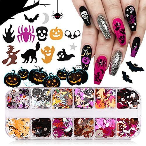 EBANKU 12 Farbe Halloween Nagel Pailletten, 3D Nail Art Glitzer Pailletten Nail Art Design Holographische Nagel Pailletten für Maniküre Gesicht Körper Dekoration