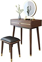 New Chinese Style Solid Wood Dressing Table, Walnut Bedroom Mini Dressing Table, Multi-Function Sensor lamp, Solid Wood Dr...