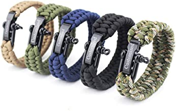 LiFashion LF Mens Womens Personalized Name Date ICE Outdoor Rope Paracord Survival Bracelet Sos Emergency Rescue Rope Cuff Bracelets for Hiking Camping Hunting Activities,Free Engraving Customized