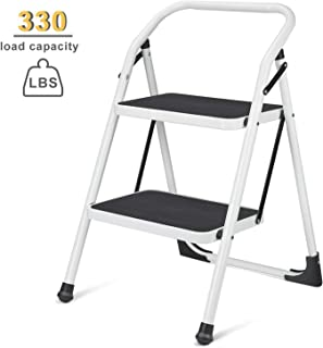 Wohous 2 Step Ladder for Adult, Folding Metal Step Stool with Handgrip & Anti-Slip Sturdy and Wide Black Pedal, Multi-Use for Household & Office, Portable Handle Step Stool 330lbs (Steel)