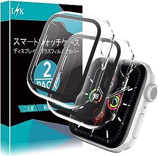 L K 2枚入り Apple Watch 40mm Series 6/5/4/Apple Watch SE 用 ケース ガラスフィルム 一体型 日本旭硝子材 耐衝撃PCフレーム 3D全面保護 99%高透過率 貼り付け簡単 アップルウォッチ 40...