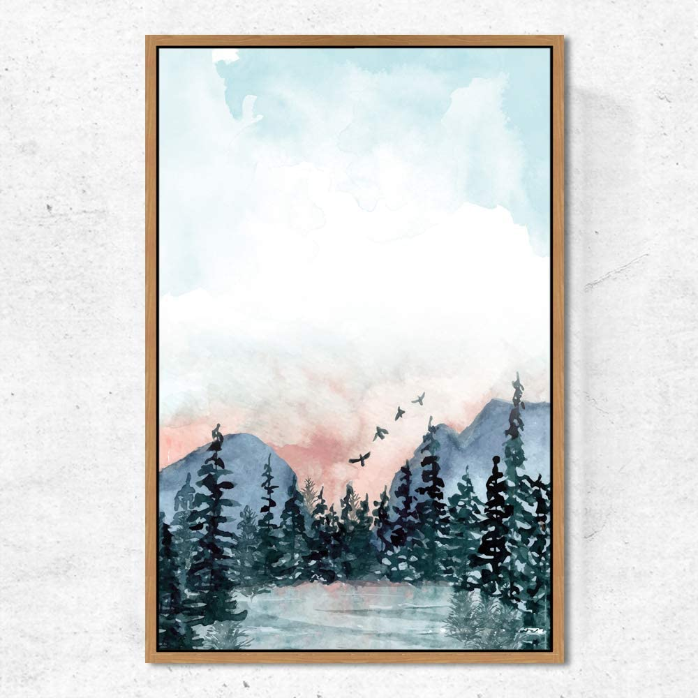 shipfree SIGNWIN Framed Canvas Wall Art Clear and Lake Mountains with Detroit Mall Sky