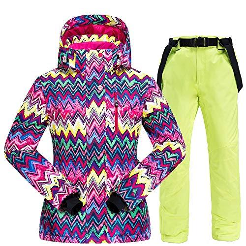 Ropa de esquí Calentar esquí juego de las mujeres, las mujeres invierno chaqueta de esquí y pantalones a prueba de agua a prueba de viento y transpirable esquí y el snowboard trajes de nieve Conjunto