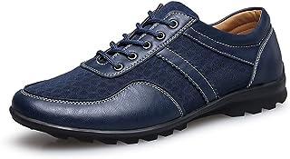 Zapatillas para Hombre Los Hombres de conducción Loafer Flat Heel Lace Up Color sólido British Style Splice Vamp Zapatos de Moda Transpirable Antideslizante