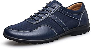 QinMei Zhou Men's Driving Loafer Flat Heel Lace Up Solid Color British Style Splice Vamp Fashionable Shoes (Color : Blue, Size : 5.5 UK)
