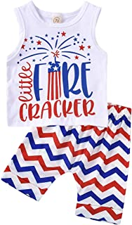 4th of July Toddler Baby Boy Outfit Little Firecracker Sleeveless Vest Top + US Flag Shorts Pants 2pcs Set