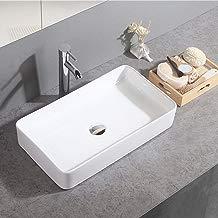 Gimify Lavabo Sobre Encimera de Baño Lavabo Porcelana Blanca, 60x34x10.5cm