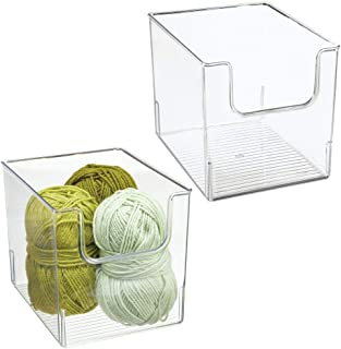 mDesign Plastic Open Front Craft, Sewing, Crochet Storage Container Bin - Compact Organizer and Holder for Thread, Beads, ...