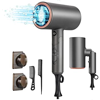 Hair Dryer, MANLI Professional Salon Negative Ionic Hair Blow Dryer Fast Drying with 2 Heat Settings, 2 Speed & One Cool Settings, AC Motor with Concentrator Nozzles