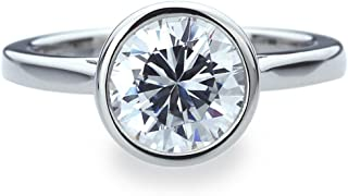 Platinum Plated Sterling Silver Ring 2 carat Round CZ Stone Bezel Set Solitaire Wedding Engagement Ring (Size 5 to 9)