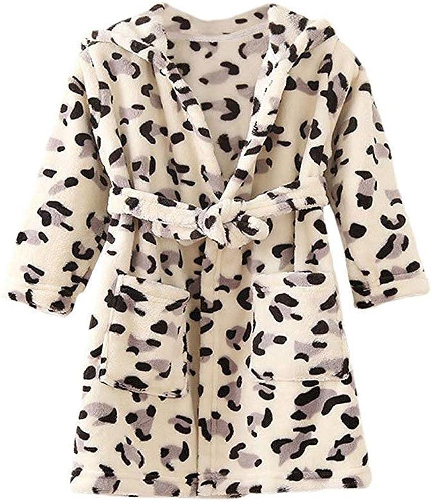 JZLPIN Unisex Toddler Hooded Bathrobe Kids Flannel Pajamas Dressing Gown for Boys