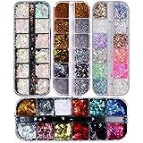 48 Colores Lentejuelas de Uñas,Brillo del Clavo de Lentejuelas Color de uñas Glitter Paillette...