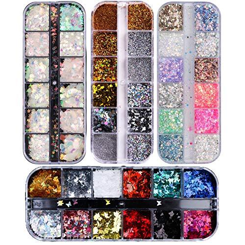 48 Colores Lentejuelas de Uñas,Brillo del Clavo de Lentejuelas Color de uñas Glitter Paillette Mixta Redondo Fino 3D Manicura Maquillaje Calcomanías de bricolaje Decoración