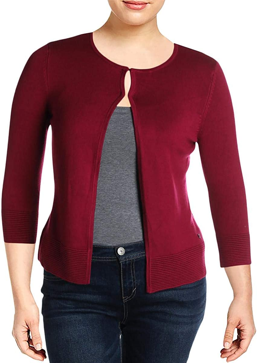Basler Womens Plus Ribbed Crewneck Cardigan Sweater Pink 22