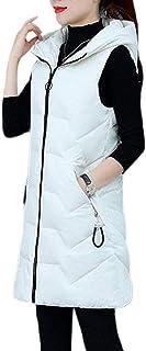 Yeokou Women's Slim Casual Sleeveless Hoodie Mid Long Puffer Quilted Gilet Vest Coat