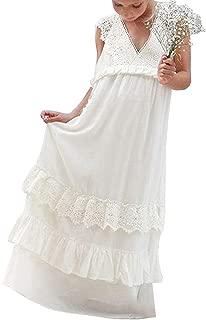 hengyud 2019 New Bohemian Lace Flower Girls Dresses White Ivory Country Wedding Dress 269