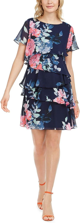 Jessica Howard Women's Petite Butterfly Sleeve Asymmetrical Lasercut Dress