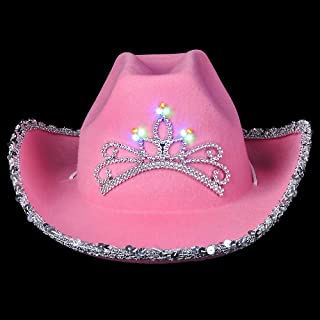 Pink Cowgirl Hat (Pack of 2) Princess Light Up Hat, with Blinking Tiara and Neck Draw String, Fits for Most Girls and Women, for Dress-Up Parties and Play Costume
