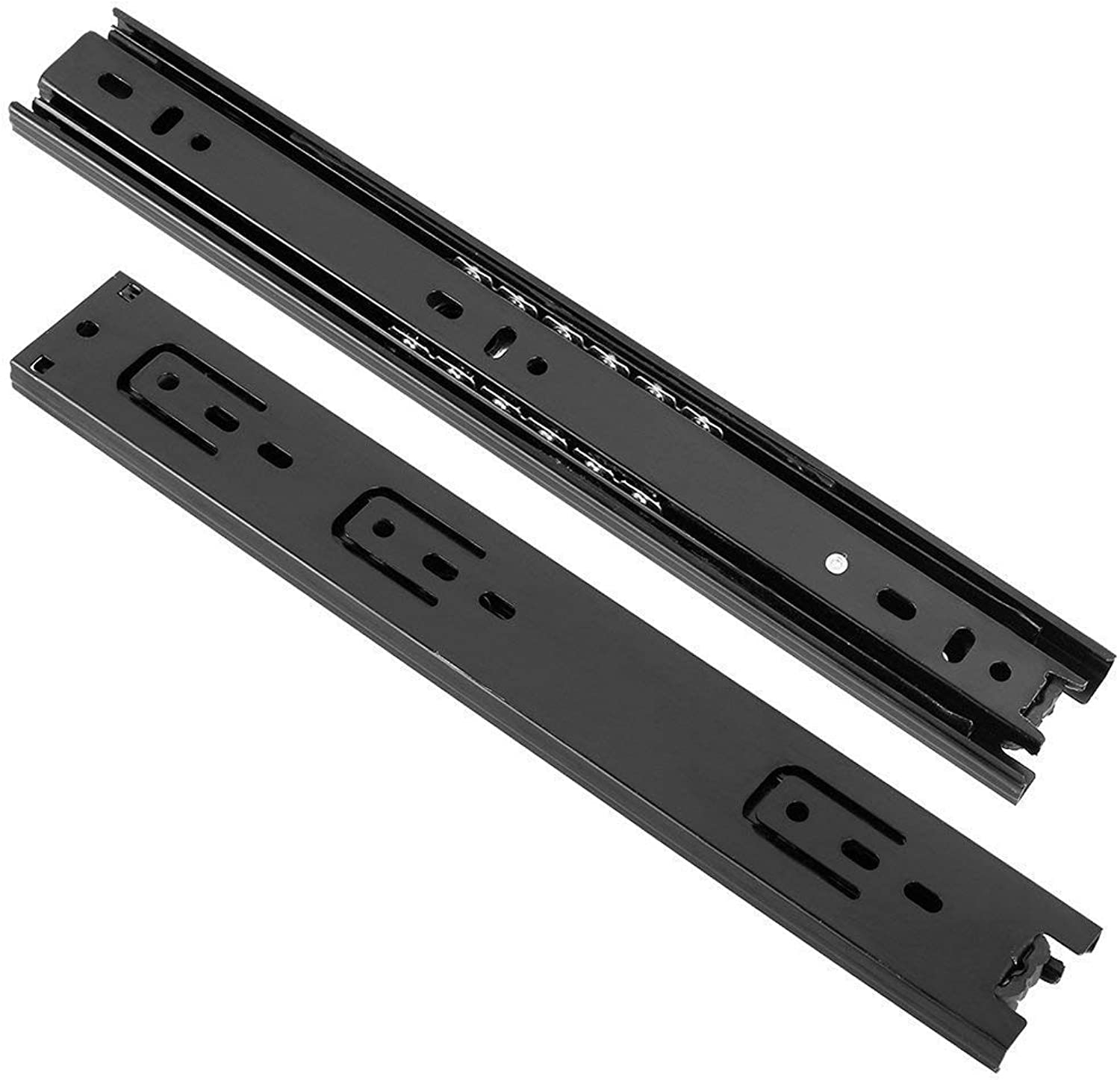 Ball Bearing Side Mount Drawer Slides, Full Extension, 10.8-inch, 100lbs Capacity, 40mm Wide, Black, 1 Pair