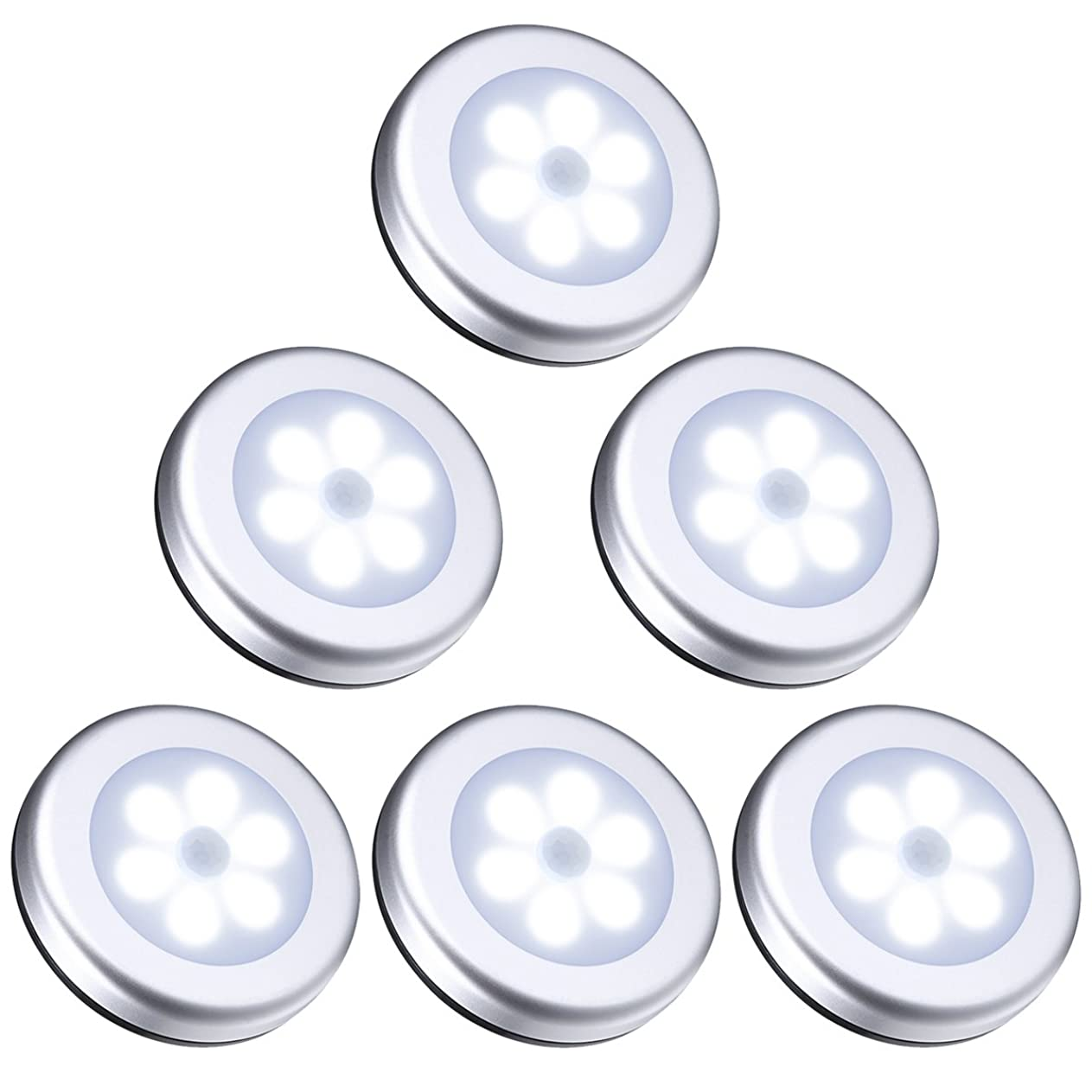 ORIA 人感センサーライト 電池式 LEDライト 屋内 小型 マグネット付き 自動点灯 消灯 懐中電灯 設置便利 軽量 玄関 階段 クローゼット 押入れ ロッカー 夜間ライト 地震 停電 緊急照明 6LED 6個セット 昼白色