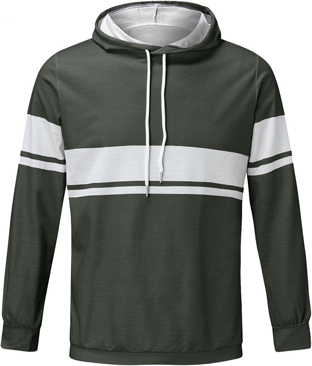 Huangse Workout Hoodies for Men Casual T-Shirts Striped Color Block Pullover Hoodies with Drawstring