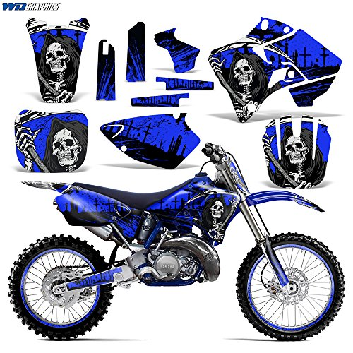 Wholesale Decals MX Dirt Bike Graphics kit Sticker Decal Compatible with Yamaha YZ125/YZ250 1996-2001 - Reaper V2 Blue