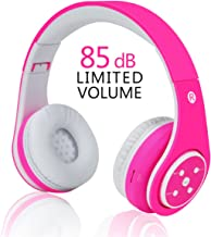 VOTONES Wireless Kids Headphones Bluetooth,Lightweight Foldable Adjustable Over Ear Earphone with Microphone Line in TF Card for Study Compatible with Smartphone PC Tablet (Pink)