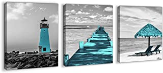 Beach Pictures Teal Coastal Wall Art for Bathrooms Black and White Canvas Framed Seacoast Wall Art for Bedroom Modern Bathroom Pictures Wall Decor Ocean Kitchen Artwork for Walls Size 12x16 Each Panel