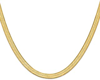 Solid 14k Yellow Gold Big Heavy 6.5mm Silky Herringbone Chain Necklace - with Secure Lobster Lock Clasp
