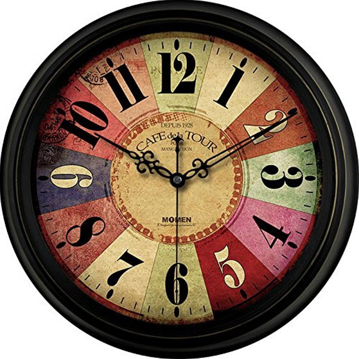 Creative Leather Mute Wall Clock Bedroom Living Room European Style Watch Quartz Clock 14 inch, 1 for Living Room Bedrooms Office