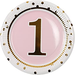 Geeklife 1st Birthday Girl Gold Paper Plates,Cute Pink Birthday Party Plates, 20 PCS Lively Decorative Paper Plates Set