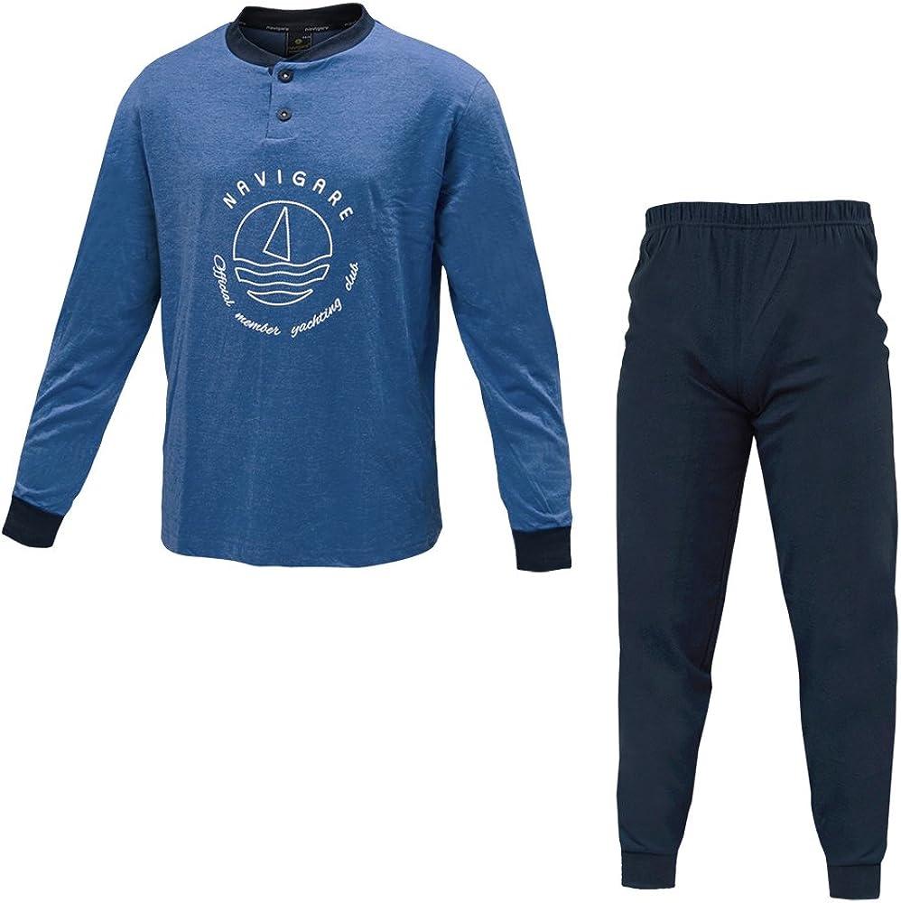 Navigare, pigiama per uomo,in  cotone jersey,per taglie forti 140584B