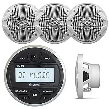 JBL PRV-175 Marine Digital Media Receiver with Built-in Bluetooth 2 x JBL JBLMS6510 6.5  Dual Cone White Speakers  2 Pairs