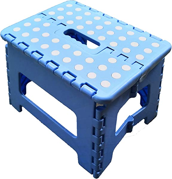 ZLin Folding Step Stool With Handle Lightweight Sturdy And Safe Enough To Support Adults Kids Kitchen Garden Bathroom Stepping Stool Anti Slip 9 X 11 Holds Up To 300 Lbs Blue