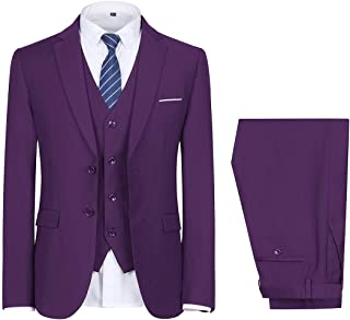 Men's 3-Piece 2 Buttons Slim Fit Solid Color Jacket Smart Wedding Formal Suit