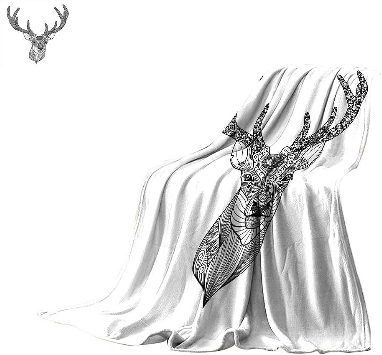 Antlers Decor Travel Throw Blanket Patterned Deer Head with Big Antlers Ornamental Monochromic Illustration Velvet Plush Throw Blanket 60 x 50 inch