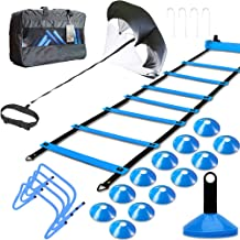 MLCINI Speed Agility Training Set, Includes 1 Resistance Parachute, 1 Agility Ladder, 4 Steel Stakes, 4 Adjustable Hurdles...