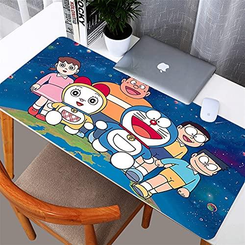 yywl Alfombrilla de Escritorio Doraemon 800x300mm Gaming Grande Mouse Pad Mapa del Mundo Mapa de Goma Natural Edge XL Mouse Pad Juego Teclado Estera de Escritorio para computadora