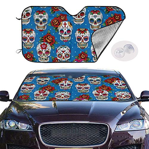 mchmcgm Cubierta para sombrilla de estilo retro mexicano Cultural Pattern Auto Windwhield Sun Shades Universal Fit 51,2 x 27,6 Inch Window Keep Your Vehicle Cool Visor for SUV Sunshade Cover