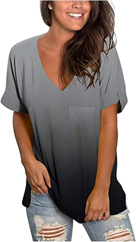 Tavorpt Gradient Plus Size Tops for Women,Short Sleeve V-Neck Tops Slim Women Summer Gradient Loose T-Shirt Blouse Tops