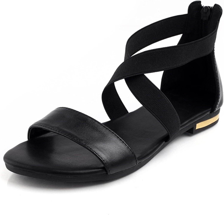 Women Sandals Fashion Summer Sweet Women Flats Heel Sandals Ladies shoes Black