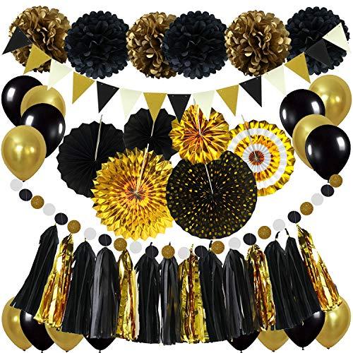 ZERODECO Decoración para fiestas, negro y dorado pompones de papel colgantes abanicos bandera de onda triangular guirnalda colgante globo para cumpleaños Navidad carnaval Año Nuevo decoración