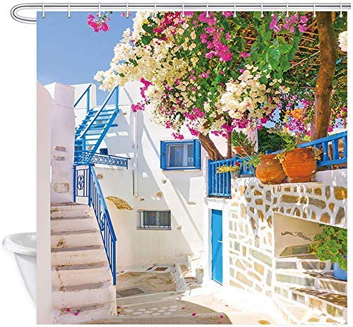 JOOCAR Cortina de ducha de diseño tradicional de la calle y de la puerta, diseño de arquitectura con flores en Grecia, decoración del hogar, tela impermeable, juego de decoración de baño con ganchos