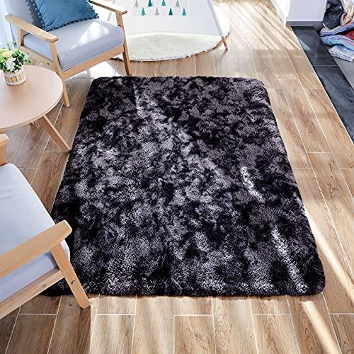 GaoTuo Alfombras Suaves de Terciopelo, alfombras Modernas y esponjosas, Lindas alfombras de Dormitorio peludas, adecuadas para su Uso como alfombras de Dormitorio(Gris Oscuro,80x120cm)