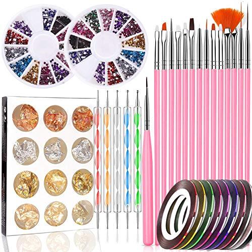 Nailart Set, Queta Nagel Werkzeuge Set mit Nail Painting Pinsel, Dotting Stift, Streifenband, Bunt Strasssteine, Paillettenfolien für Nägel Dekoration